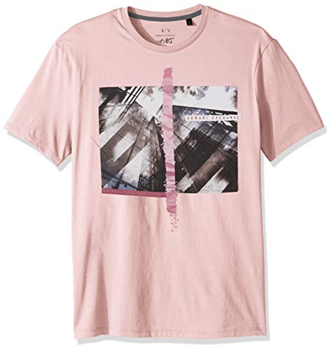 A X Armani Exchange Men's Short Sleeve Skyscraper Graphic T-Shirt, Zephyr, M