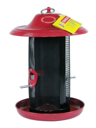 Cheap Stokes Select Red Rock Twin Chamber Bird Feeder with Metal Roof, Red, 2.4 lb Seed Capacity