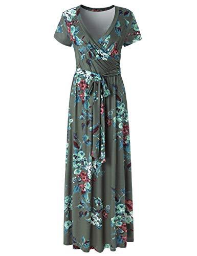 YUMDO Women's V Neck Short Sleeve Floral Print Faux Wrap Long Maxi Dress Belt Green 3XL