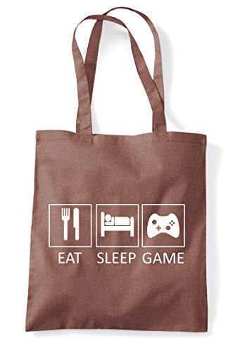 Tote Statement Gaming Eat Sleep Bag Shopper Tiles Chestnut Game wqzwpgtXB