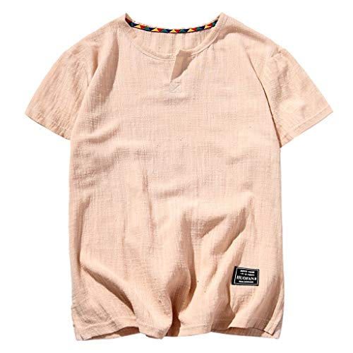 Baggy Linen Shirts for Men,Casual O-Neck Short Sleeve Basic Tee Summer Solid Color Beach Yoga Quick Dry Top Blouse by Leegor Khaki