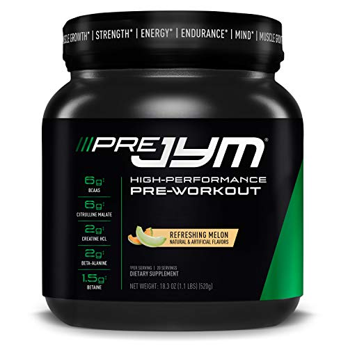Pre JYM Pre Workout Powder - BCAAs, Creatine HCI, Citrulline Malate, Beta-Alanine, Betaine, and More | JYM Supplement Science | Refreshing Melon Flavor, 20 Servings