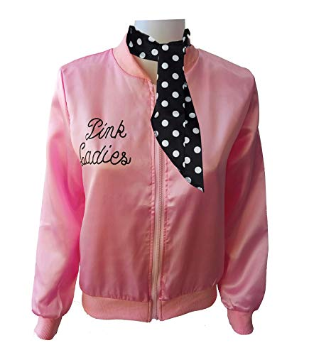 Ladies 50S Grease T Bird Danny Pink Satin Jacket Halloween Cosplay Costume with Neck Scarf -