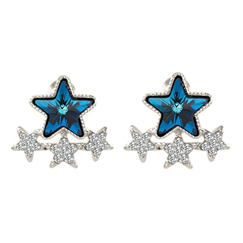 """(White Gold Plated Statement """"Dream Star"""" Swarovski Element Crystal Charms Stud Dangle Drop Earring for Women and Girls (Sapphire blue Star))"""