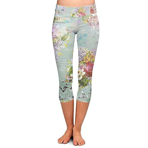 Skinny Pantalone Moda Pantaloni Vita Stretch Fit Donna Elastico Sportivi Capri Chic In Slim Stampato Ragazza Fiore Leggings Colour qw7wrE