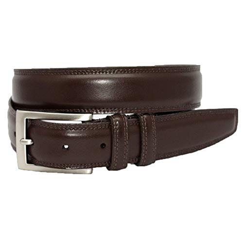 Torino Leather Italian Aniline Leather Dress Belt - Brown 42