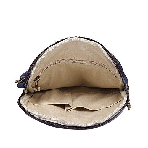 Spalla Colori Scuro Di Confortevole Shopping Tela Bag Blu Cerniera Messenger Semplice Retrò 7nY0p