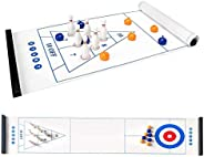 Jhua 3 in 1 Tabletop Curling Bowling Shuffleboard Game Set for Family Adults Kids Portable Tabletop Game Set w