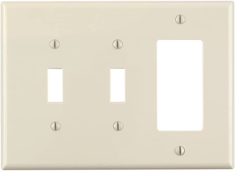 Leviton PJ226-T 3-Gang 2-Toggle 1-Decora/GFCI Combination Wallplate, Midway Size, Light Almond