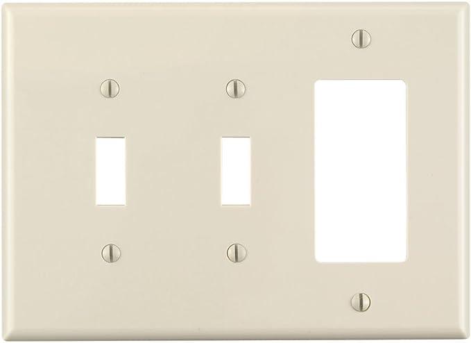 Leviton Pj226 T 3 Gang 2 Toggle 1 Decora Gfci Combination Wallplate Midway Size Light Almond Wall Plates Amazon Com