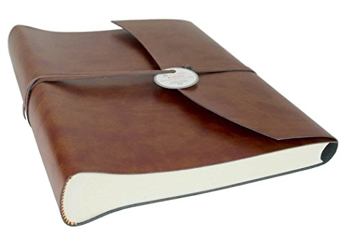 Romano Large Chestnut Handmade Recycled Leather Wrap Photo Album, Classic Style Pages (30cm x 24cm x 6cm) (Chestnut Album)
