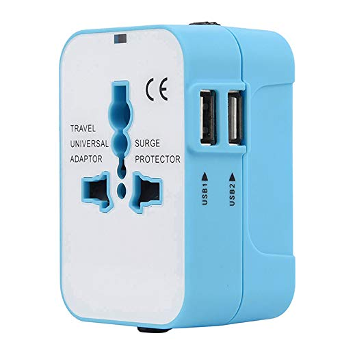 Orcbee  _World Universal Travel Adapter with Dual USB Convertor Wall Plug Power (Blue)