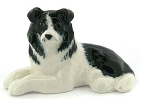 3 D Ceramic Toy Border Collie Dog Dollhouse Miniatures Free (English Garden Medallions)