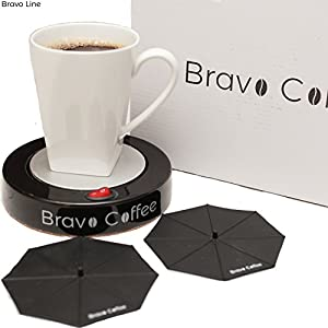 "Electric Personal Coffee Mug & Beverage Warmer, 3.87"" Diameter with 2 Bonus Drink Covers :: Large Heat Plate Fits All Cups and Mugs :: Automatic Shutoff for Safety by Bravo Line"