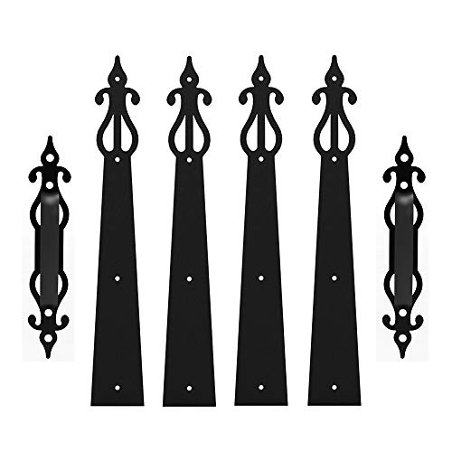 CCJH Decorative Carriage House Garage Handle Hinge Accent Set Door Hardware Kit Screw Mounted