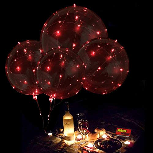 LED Light Up Balloons,18 Inch Helium LED Bobo Balloons for Christmas,Wedding,Birthday Party Decorations(Red,10 Pack) -