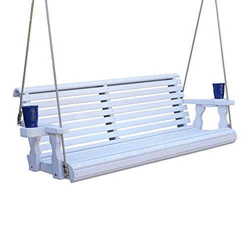 CAF Amish Heavy Duty 800 Lb Roll Back Treated Porch Swing with Hanging Ropes and Cupholders (4 Foot, Semi-Solid White Stain)