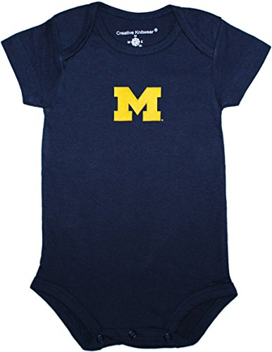 University of Michigan Wolverines Block M Newborn Baby Bodysuit Navy 3-6 Months