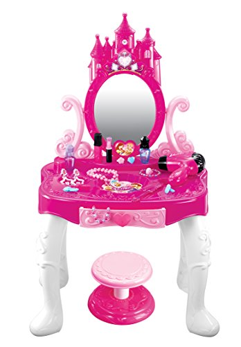 kiddie play little princess kids vanity table and chair beauty play set with fashion makeup. Black Bedroom Furniture Sets. Home Design Ideas