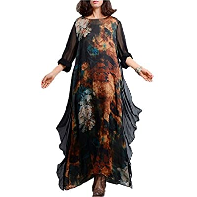 Yesno JK7 Women Long Maxi Floral Swing Dress Colorful Bohemia 'A' Skirt Ink Painting Long Roll-Up Sleeve for sale