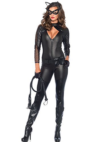 Leg Avenue Women's 4 Piece Wicked Kitty Costume, Black, Small