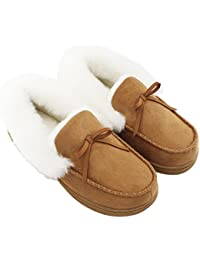 Womens Faux Fur Lined Suede House Slippers, Breathable Indoor Outdoor Moccasins