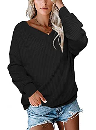 Albe Rita Women's V Neck Long Sleeve Waffle Knit Top Off Shoulder Pullover Sweater Black-S