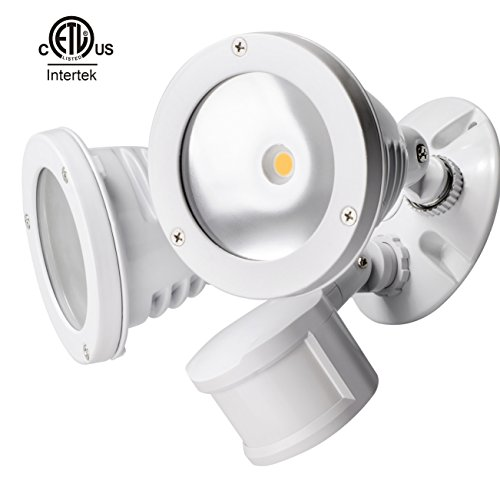 ity Light, 2000lm Motion Activated Outdoor Floodlight with 2 Adjustable Light Heads, - Super Bright, 4000K Daylight, IP65 Waterproof, ETL-listed Outdoor Spotlight - White (Mounted Weatherproof Cover)