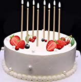 Mikash 24 Count Birthday Candles Bulk for Christmas Party Cakes Champagne Gold 5.6inch Long Thin Celebration Candles Luxurious Birthday Wedding Cupcake Sparklers Tion | | Model WDDNG - 958