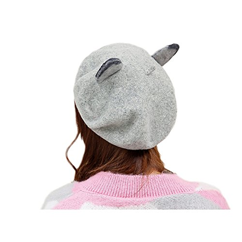 48b59e0997c ... Women Gril Winter Hats Cute Cat Wool Beanie Cap Gray Dot Cow. 39