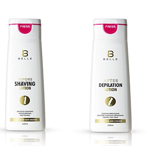 Belle® Depilation set - Before and After Shaving Hair Removal Waxing - Before Shaving Lotion + After Depilation Lotion - long-lasting moisturizing - 230 ml