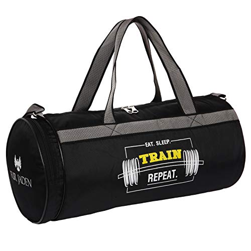 Fur Jaden Black 23L Duffle Gym Bag for Men with Separated Shoe Pocket and Attached Shoulder Strap…