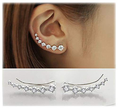 Elensan 7 Crystals Ear Cuffs Climber 925 Sterling Silver for sale  Delivered anywhere in Canada