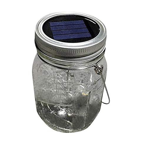 Sayolala Hanging Solar Mason Jar Lid Lights Great Outdoor Lawn Décor for Patio Garden Yard and Lawn Solar Panel -
