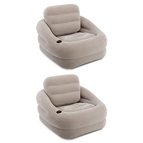 Intex Inflatable Khaki Accent Chair with Cup Holder and Water Base (2 Pack)