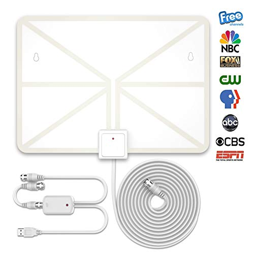 TV Antenna, Indoor Amplified HDTV Antenna 50 Mile Range with Detachable  Amplifier Signal Booster and 16 5FT High Performance Coax Cable, Upgraded