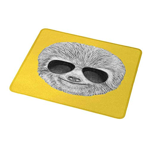 Gaming Mouse Pad Custom Sloth,Hipster Jungle Animal with Sunglasses Smiling Funny Expression Cool Character Print,Yelow Grey,Non-Slip Personalized Rectangle Mouse pad 9.8