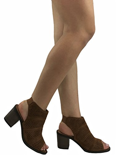 Ankle Steven Mid Ella Bootie Cut Audrey Suede Tan PerforatedFaux Out Women's Heel Leather gxfnzwFg