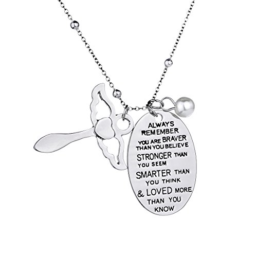 ZJ ZHIJIA JEWELRY Inspirational Necklace Pendant Jewelry Women Girls Birthday Family Friend Gift - You Are Braver Stronger Smarter Than You Think