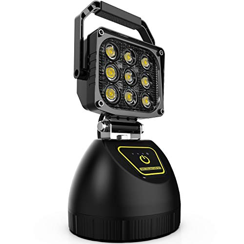 (Wiland  LED Work Light Rechargeable 27W Portable Outdoor Camping Light LED Emergency Flood Light for Auto Boat Home Security Farm Field Repair Workshop LED Search Light with SOS Function Magnetic Base)