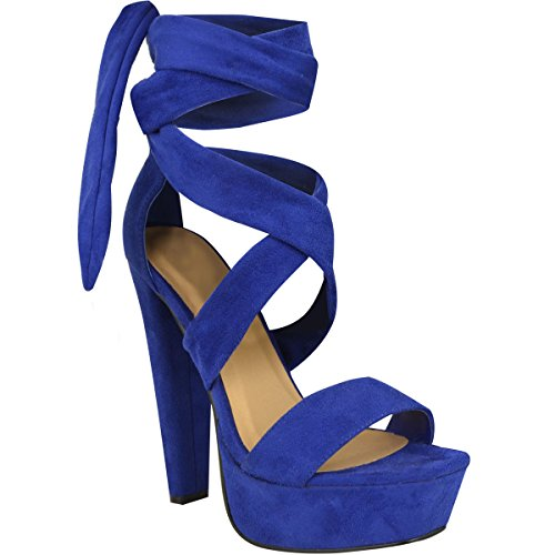 Fashion Thirsty Womens Tie Lace Up Ankle High Heels Block Platforms Party Open Shoes Size 10 -