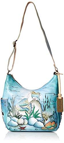 Anuschka Women's Genuine Leather Shoulder Bag | Hand Painted Original Artwork | Classic Hobo With Studded Side Pockets | Little Mermaid