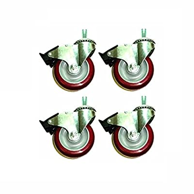 "Set of 4 Colson Swivel Casters with 4"" Polyurethane Wheel & 5/8"" Threaded Stems"