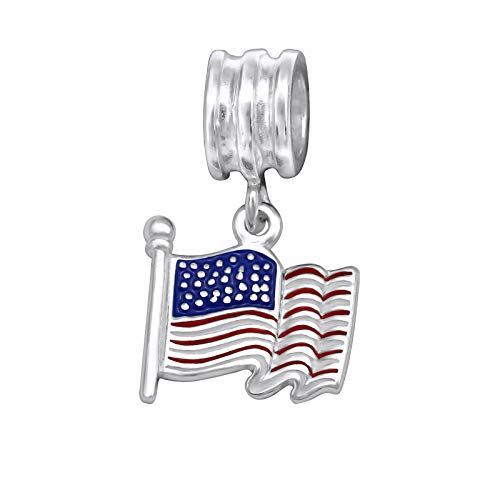 ICYROSE Solid 925 Sterling Silver Dangling American Flag with Red, Blue Charm Bead