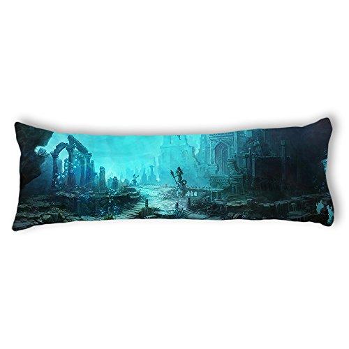 AILOVYO Sea Palace Silky Soft Satin Pregnancy Body Pillow Cover Pillowcase, 20
