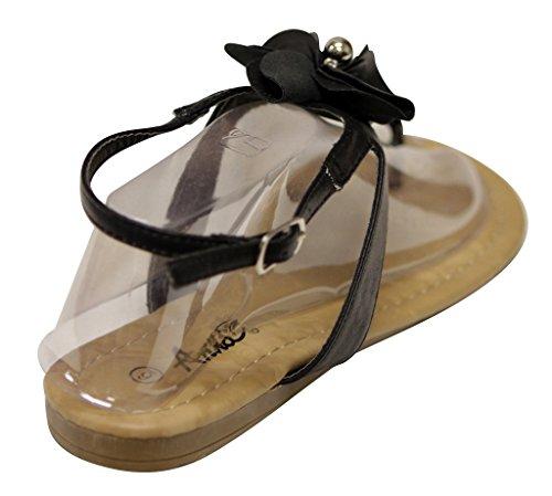 Anna Jeffery-11 Dames T-strap Kralen Bloem Verstelbare Enkelband Platte Sandalen Zwart