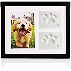 Petacc Dog Memorial Picture Frame Pet Paw Print Photo Frame Kit Pet Keepsakes Kit for Cats and Dogs (Black)
