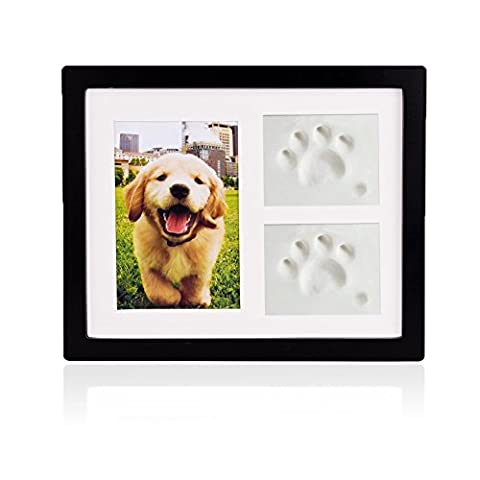 Petacc Pet Memorial Picture Frame Pet Paw Print Photo Frame Kit Pet Keepsakes Kit for Cats and Dogs, with Clays, for Room Wall or Table Decor - Picture Paw Print
