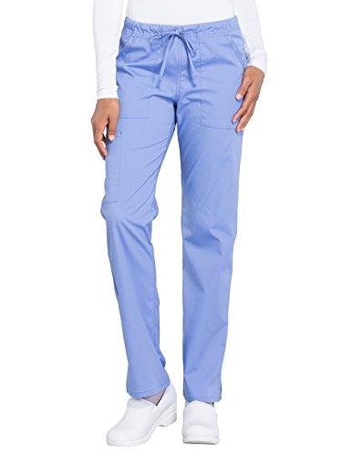 (Cherokee WW Professionals WW160 Mid Rise Straight Leg Drawstring Pant Ciel Blue S Tall)