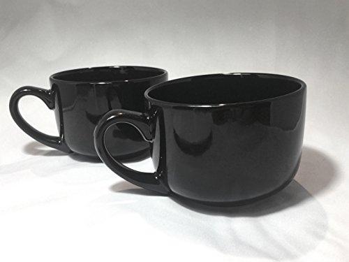 Extra Large Jumbo Latte Coffee Mug Or Soup Bowl With Handle - Black 22 oz (Pack of 2) (Soup Jumbo Mugs Coffee)